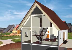 Fassadenquerschnitt mit Dämmung