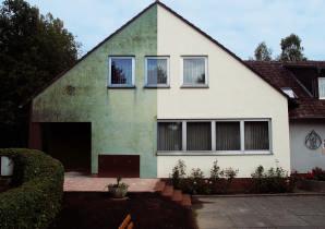 Haus vor und nach Fassadenbearbeitung